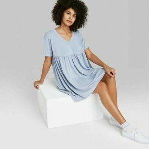 Women's Short Sleeve Babydoll Sweatshirt Dress - Wild Fable Indigo Blue Size XS